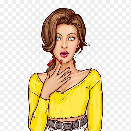 Surprised woman with wide open eyes and mouth holding hand to his face on transparent background PNG