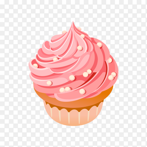 Sweet Strawberry Cupcake on transparent background PNG