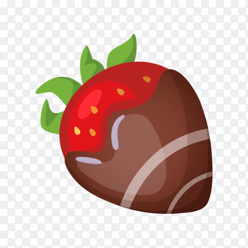 Sweet strawberry with chocolate on transparent background PNG