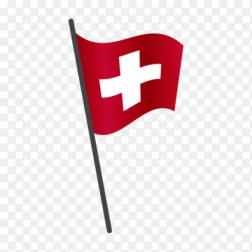 Switzerland flag isolated on transparent background PNG