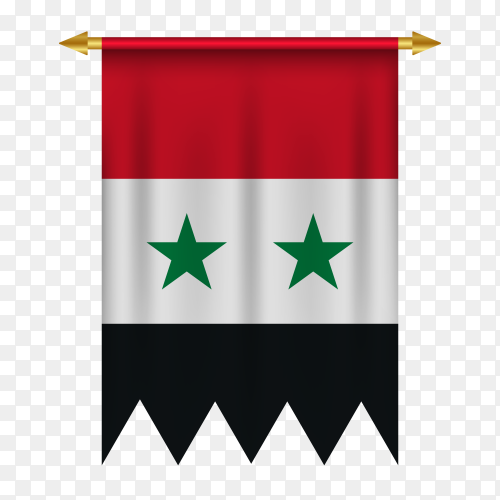 Syria pennant in flat design on transparent background PNG