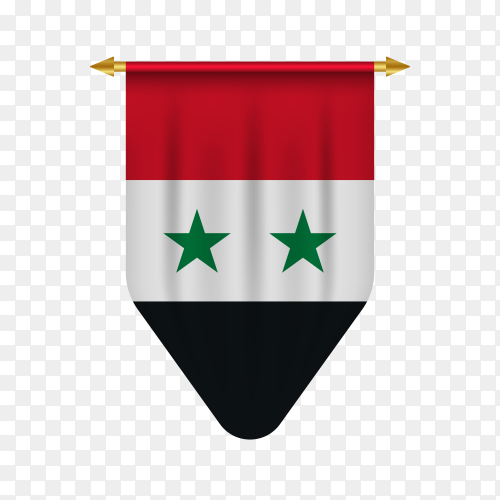Syria pennant isolated on transparent background PNG