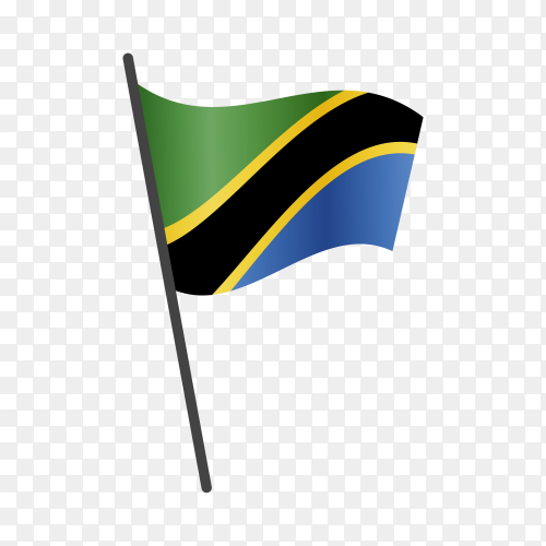 Tanzania flag waving on a flagpole on transparent background PNG