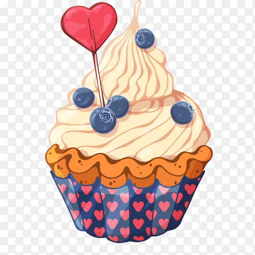 Tasty cupcake with cream on transparent background PNG