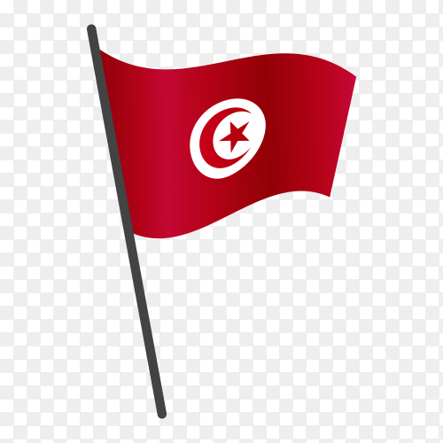 Tunisia flag waving on a flagpole on transparent background PNG