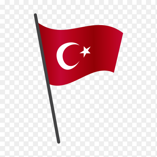 Turkish flag isolated on transparent background PNG