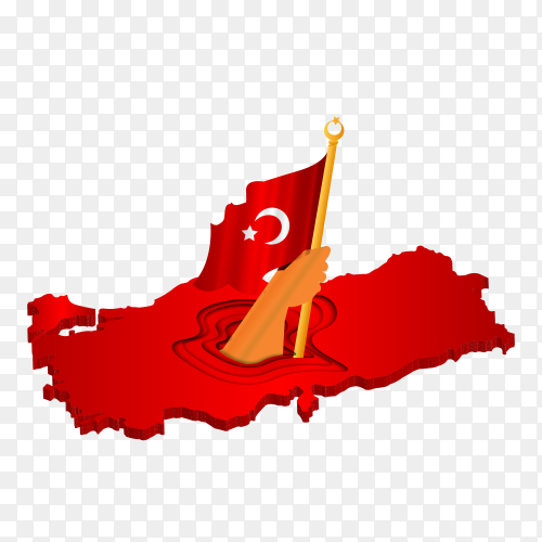 Turkish flag on the map illustration on transparent background PNG