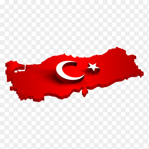 Turkish flag on the map isolated on transparent background PNG
