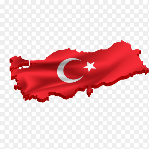 Turkish flag on the map premium vector PNG
