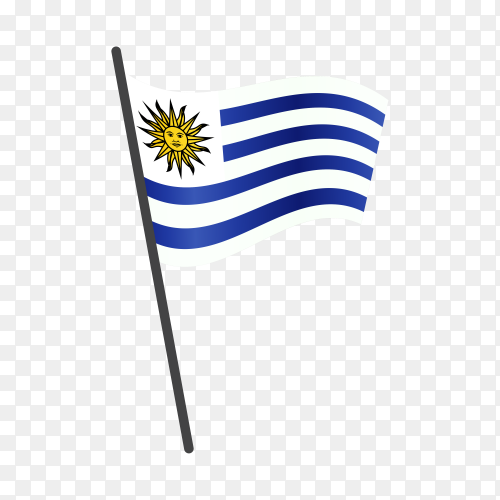 Uruguay flag waving on a flagpole on transparent background PNG