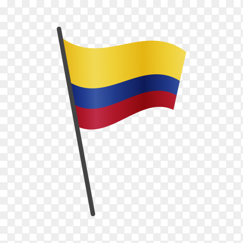 Venezuela flag waving on a flagpole on transparent background PNG