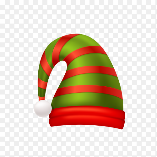 Watercolor Santa Claus hat on transparent background PNG