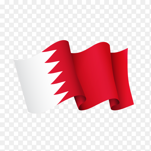 Waving Bahrain flag icon isolated on transparent background PNG