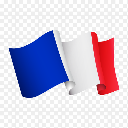 Waving France flag icon isolated on transparent background PNG