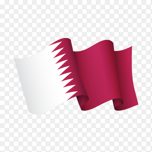 Waving Qatar flag icon isolated on transparent background PNG