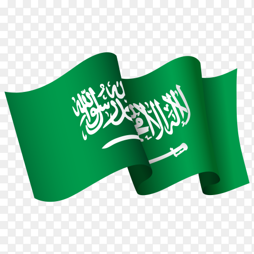 Waving Saudi Arabia flag icon isolated on transparent background PNG