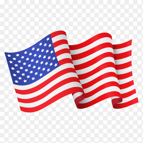 Waving United states flag icon isolated on transparent background PNG