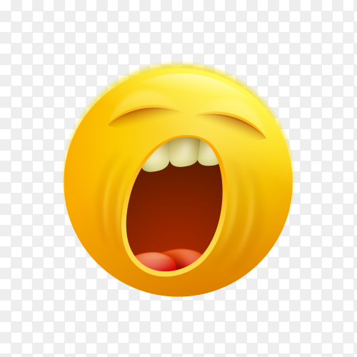 Yawning face emoji with eyes closed Premium vector PNG