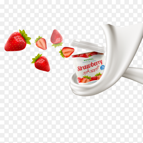 Yogurt splashing and floating strawberry on transparent background PNG