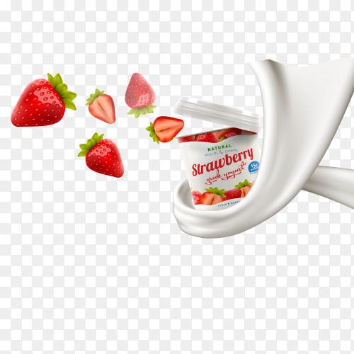Yogurt splashing and floating strawberry on transparent background PNG