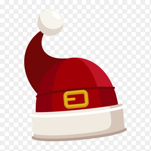 Flat design Santa Claus cartoon red hat premium vector PNG
