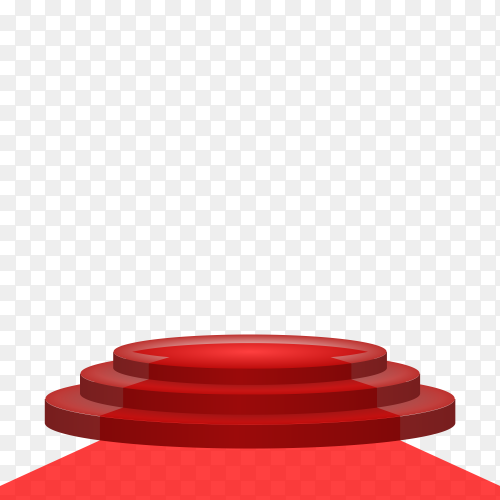 round 3d empty podium with red carpet on transparent PNG