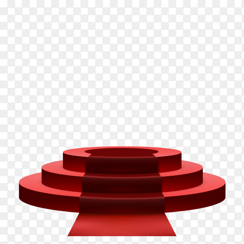 round 3d empty podium with red carpet on transparent background PNG