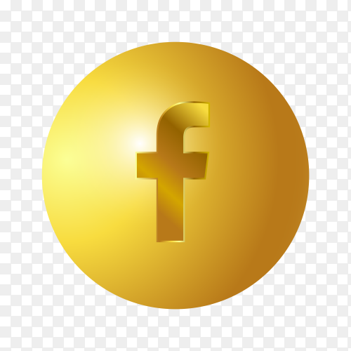 3D Golden Facebook icon on transparent background PNG