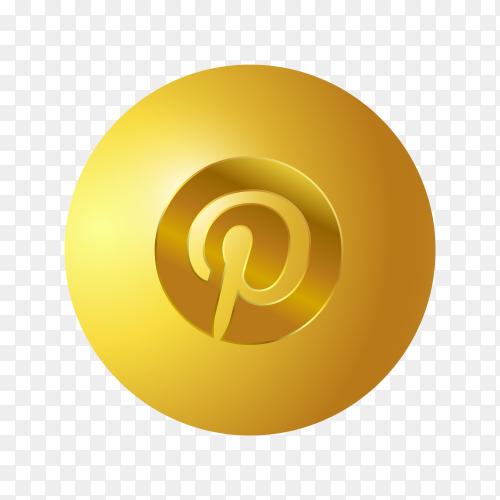 3D Golden Pinterest icon on transparent background PNG