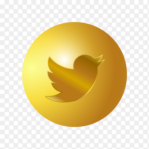 3D Golden Twitter icon on transparent background PNG