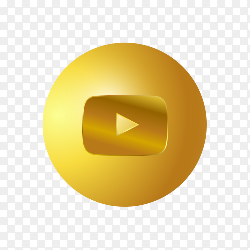 3D Golden YouTube icon on transparent background PNG