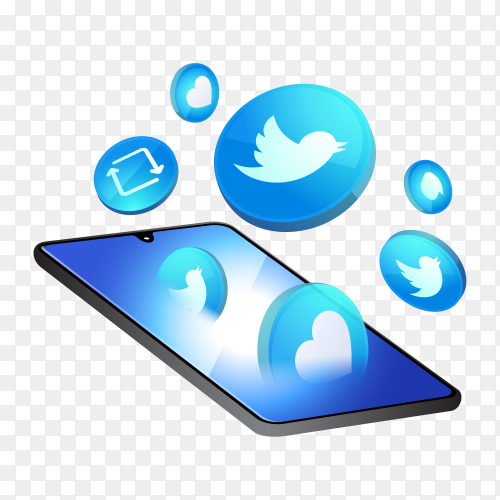 3D Twitter social media icons with smartphone symbol on transparent background PNG