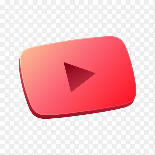 3D YouTube icon design on transparent background PNG