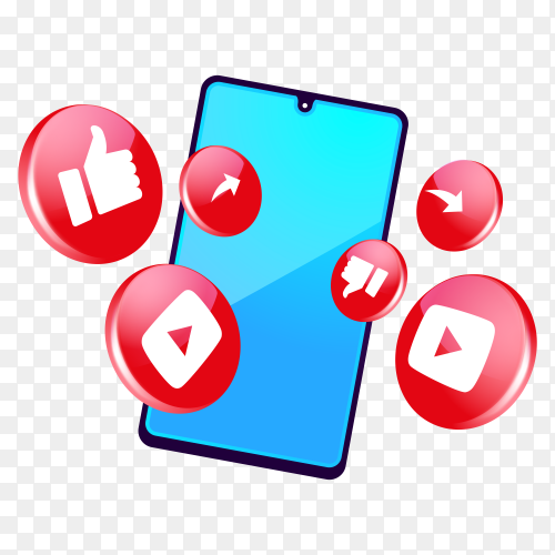 3D YouTube  social media icons with smartphone on transparent background PNG