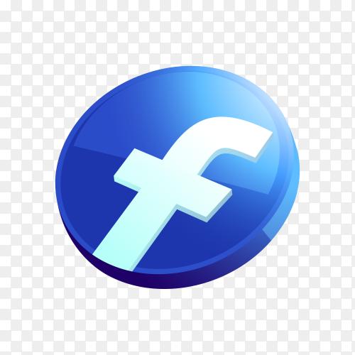 3D Facebook icon design on transparent background PNG