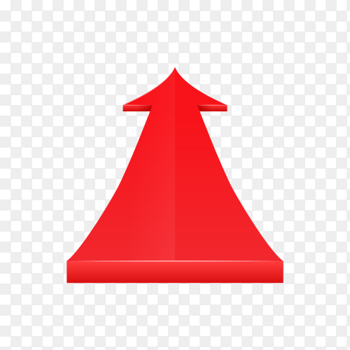 3D glossy red arrow on transparent background PNG