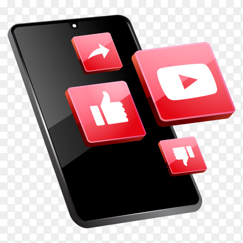 3d YouTube social media icons with smartphone symbol on transparent background PNG