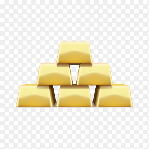 A pile of gold bars on transparent background PNG