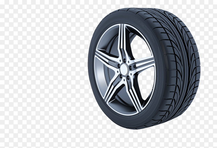 Aluminum wheel car tire style on transparent background PNG
