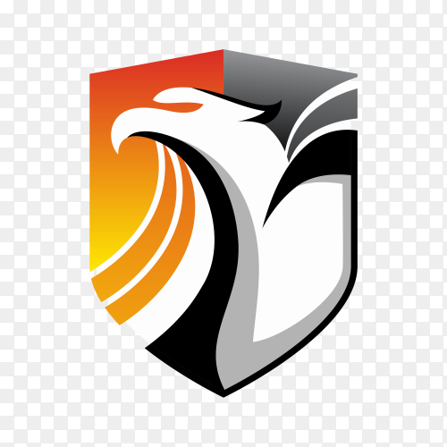 Animal with shield logo template on transparent background PNG