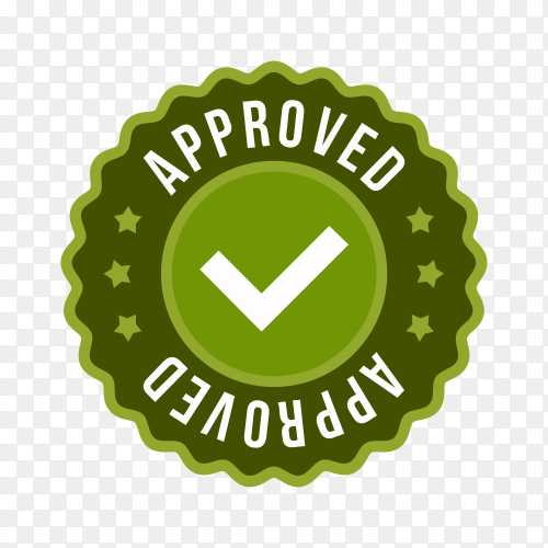 Approved label sticker icon on transparent background PNG