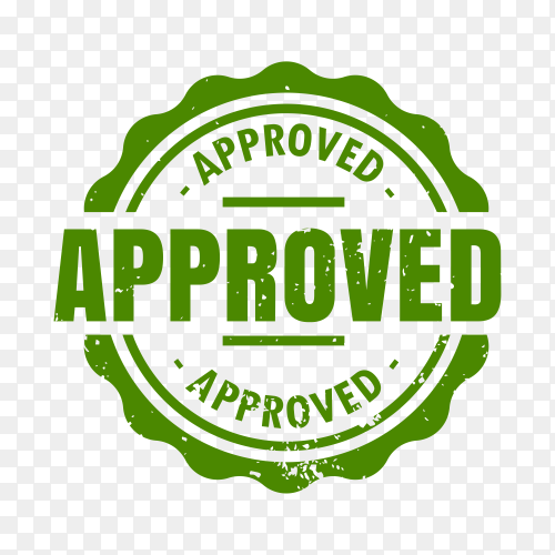 Approved rubber stamp on transparent background PNG