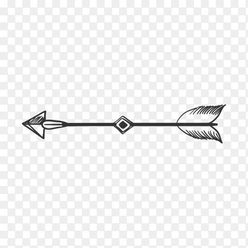 Arrow hand drawn line art illustration on transparent background PNG