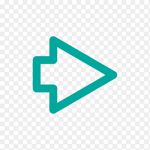 Arrow icon in flat design on transparent background PNG