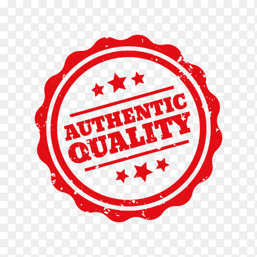 Authentic quality rubber stamp premium vector PNG