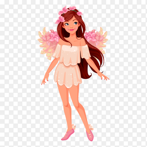 Beautiful angel  illustration on transparent background PNG
