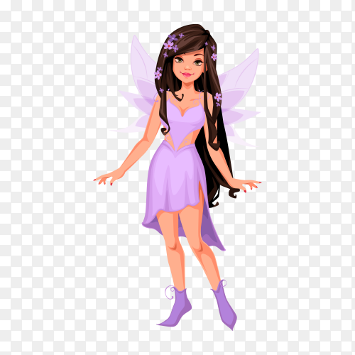 Beautiful fairy in purple dress on transparent background PNG