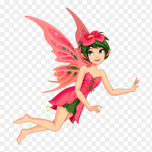 Beautiful flower fairy on transparent background PNG