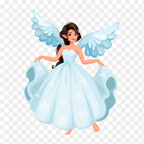Beautiful snow fairy on transparent background PNG