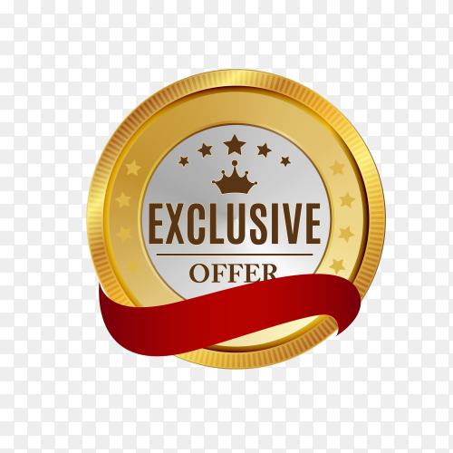 Best offer golden label badge design on transparent background PNG
